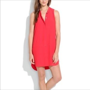 MADEWELL | Coral Button Front Sleeveless Dress